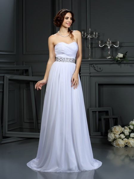 A-Line Sweetheart Beading Chiffon Wedding Dresses