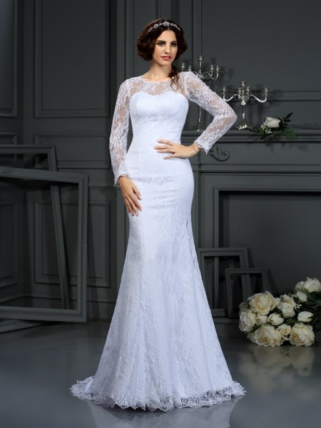 Sheath Scoop Lace Satin Wedding Dresses