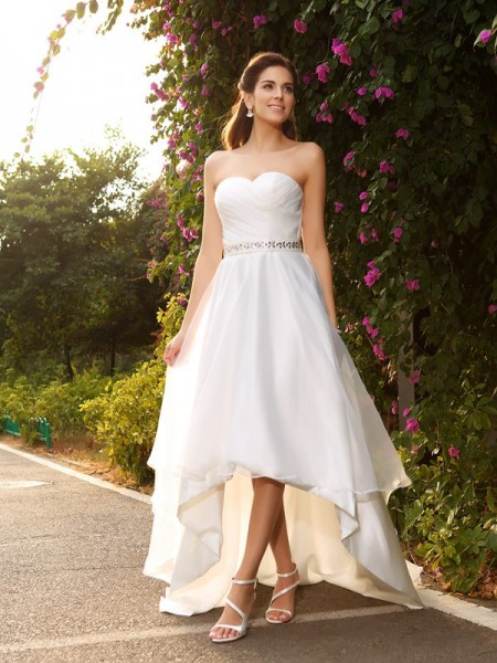 A-Line Sweetheart Beading High Low Organza Wedding Dresses