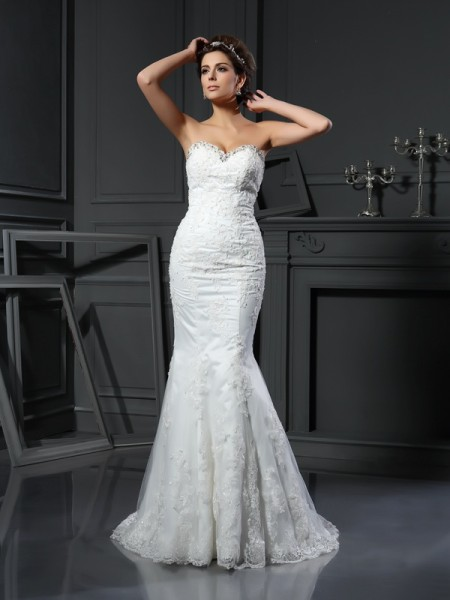 Sheath Sweetheart Beading Net Wedding Dresses