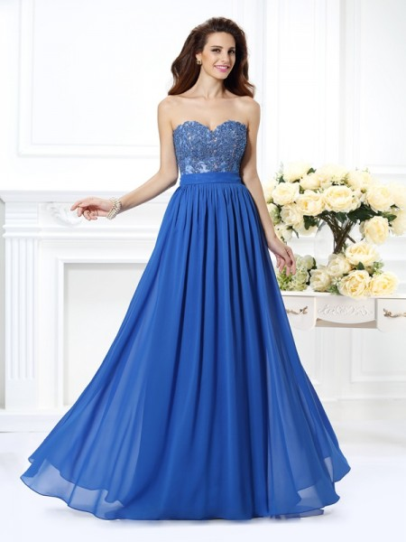 A-Line Sweetheart Applique Chiffon Prom Dresses