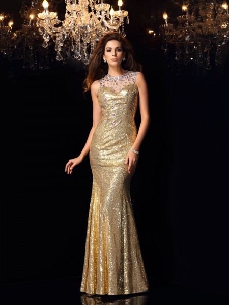 Mermaid High Neck Sequins Prom Dresses