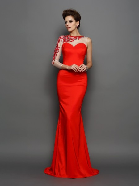 Mermaid High Neck Embroidery Elastic Woven Satin Prom Dresses