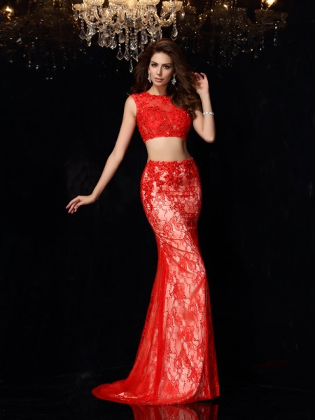 Sheath Scoop Lace Elastic Woven Satin Two Piece Prom Dresses