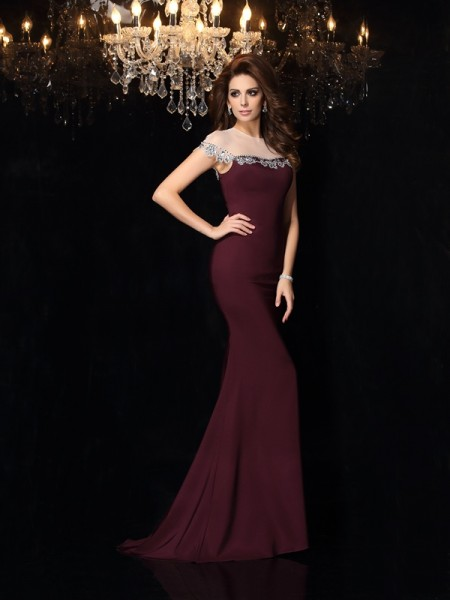 Mermaid High Neck Applique Elastic Woven Satin Prom Dresses