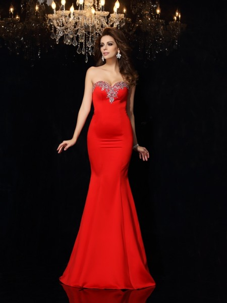 Sheath Sweetheart Beading Satin Prom Dresses