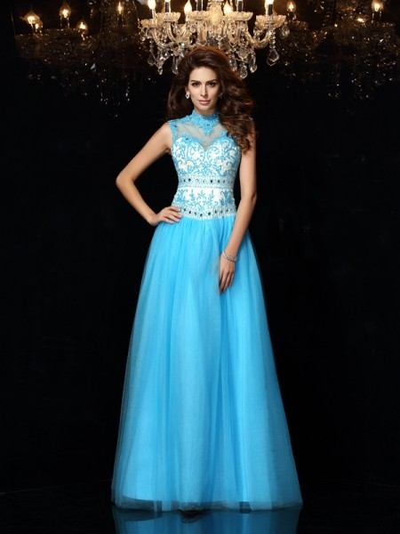 A-Line High Neck Applique Satin Prom Dresses