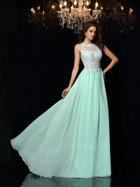 A-Line High Neck Applique Chiffon Prom Dresses