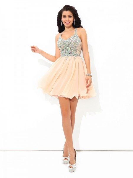 A-Line Straps Rhinestone Short Chiffon Homecoming Dresses
