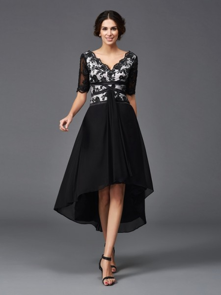 A-Line V-neck Lace High Low Chiffon Dresses