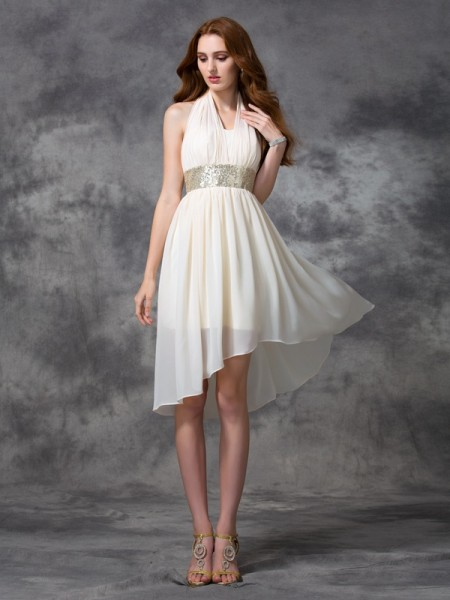 A-Line Halter Sequin High Low Chiffon Homecoming Dresses