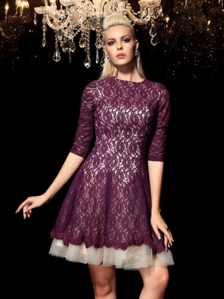 A-Line Sheer Neck Lace Short Lace Homecoming Dresses
