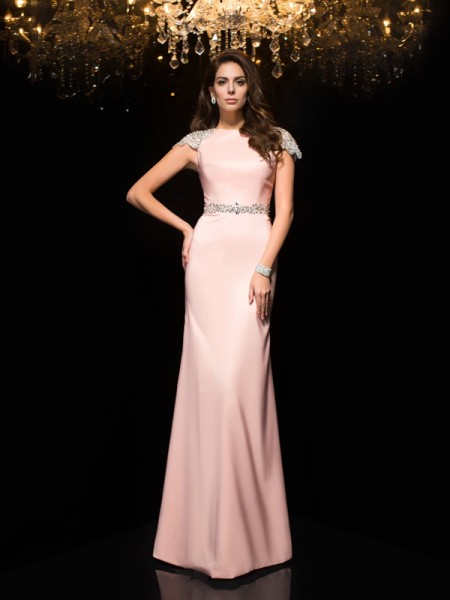 Sheath Jewel Beading Satin Prom Dresses