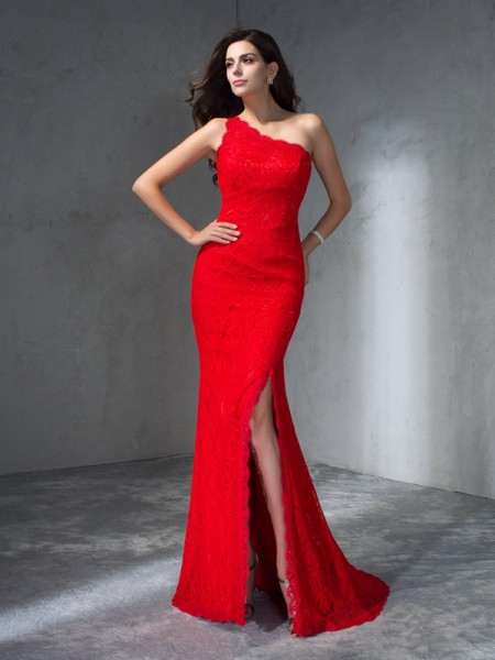 Mermaid One-Shoulder Lace Prom Dresses