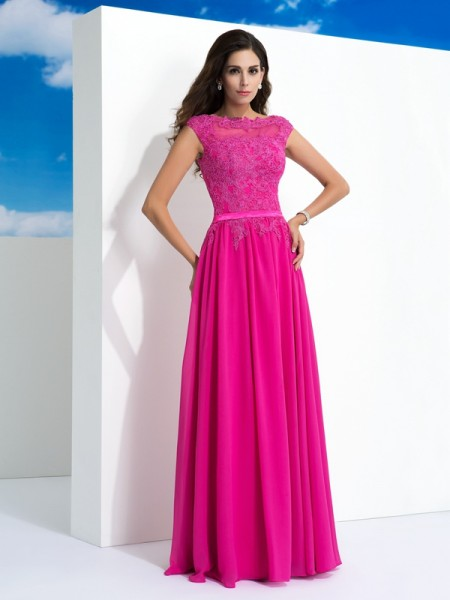 A-Line Sheer Neck Lace Chiffon Prom Dresses