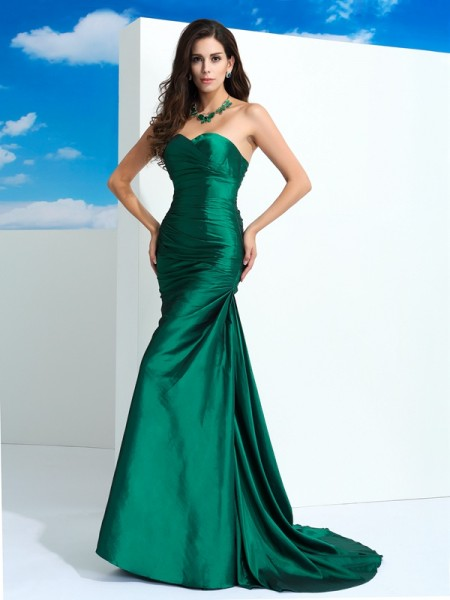 Sheath Sweetheart Pleats Taffeta Prom Dresses