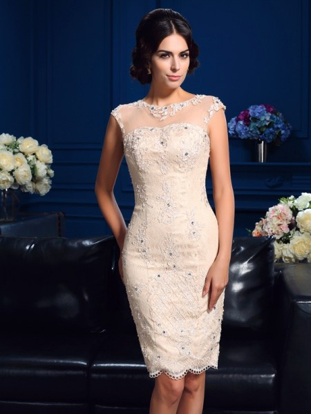Sheath Sheer Neck Lace Short Lace Mother of the Bride Dresses