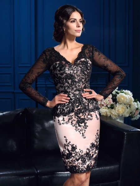 Sheath V-neck Applique Short Lace Mother of the Bride Dresses