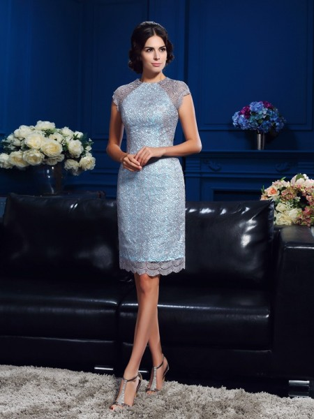 Sheath Scoop Lace Short Satin Mother of the Bride Dresses