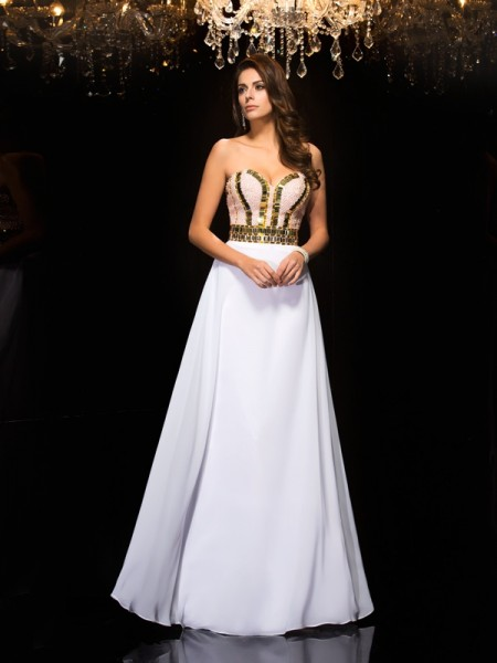 A-Line Sweetheart Sequin Chiffon Prom Dresses