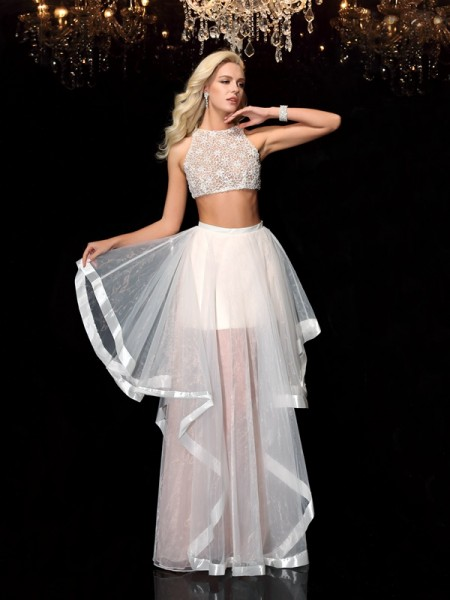 A-Line Scoop Applique Tulle Two Piece Prom Dresses