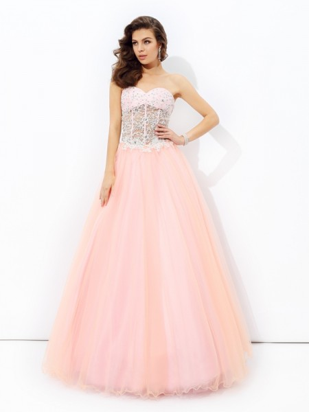 A-Line Sweetheart Lace Net Prom Dresses