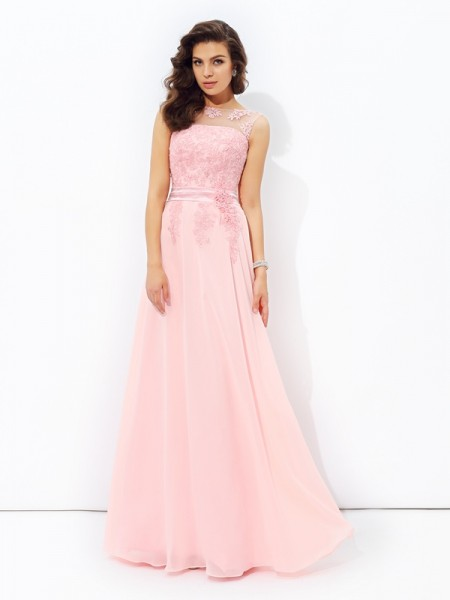A-Line Scoop Applique Chiffon Prom Dresses