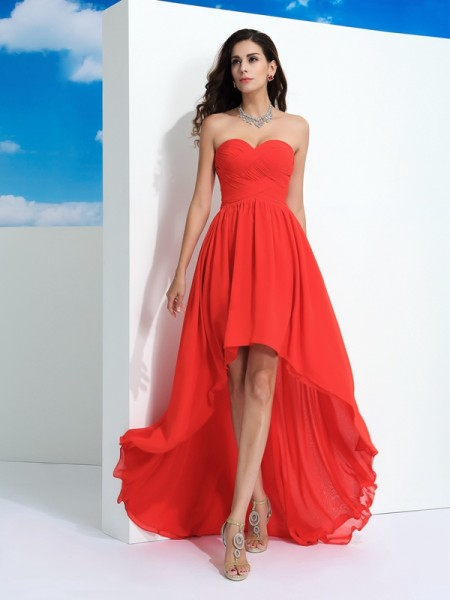 A-Line Sweetheart Pleats High Low Chiffon Prom Dresses
