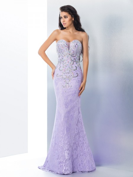 Mermaid Sweetheart Beading Lace Prom Dresses