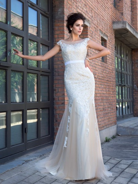 Mermaid Sheer Neck Applique Net Prom Dresses