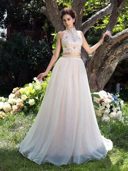 A-Line High Neck Beading Net Two Piece Prom Dresses