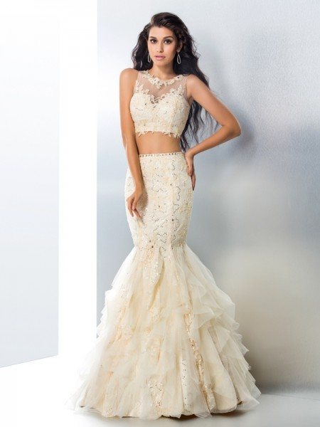 Mermaid Sheer Neck Beading Tulle Two Piece Prom Dresses