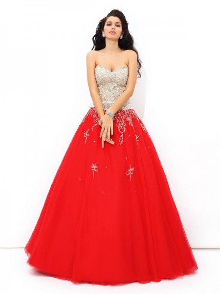 Sweetheart Beading Satin Ball Gown Quinceanera Prom Dresses