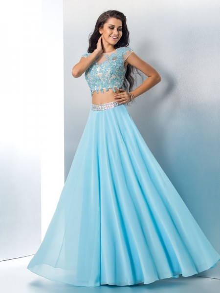 A-Line Sheer Neck Applique Chiffon Two Piece Prom Dresses
