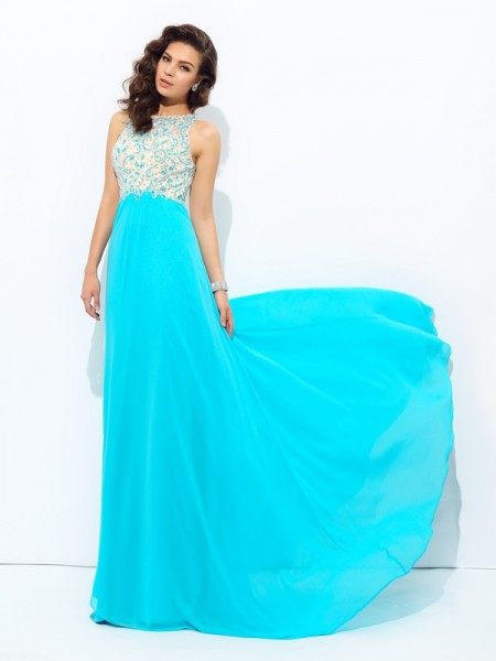 A-Line Scoop Beading Chiffon Prom Dresses