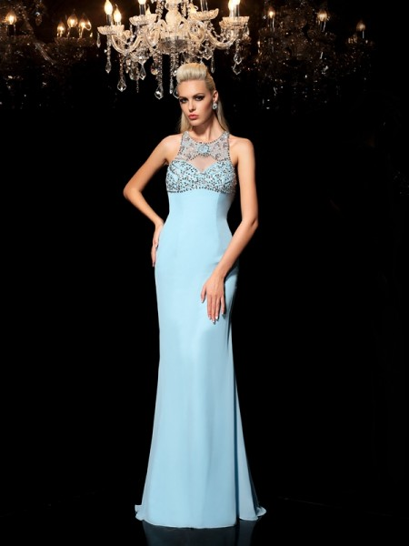Sheath Sheer Neck Beading Chiffon Prom Dresses