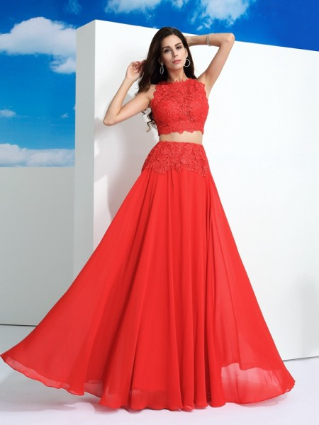 A-Line Scoop Lace Chiffon Two Piece Prom Dresses