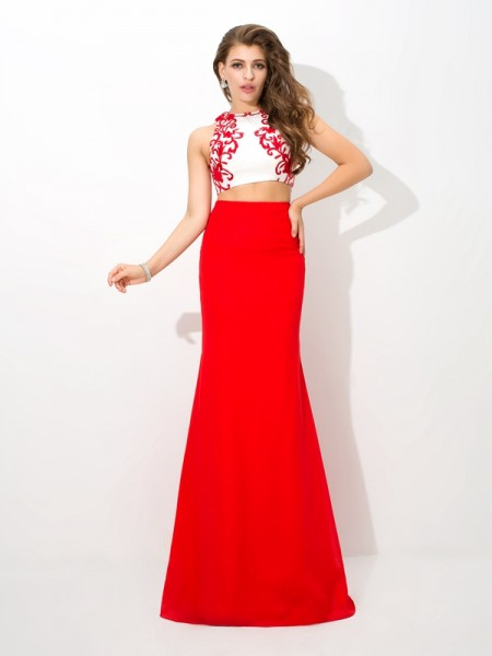 Sheath High Neck Applique Chiffon Two Piece Prom Dresses