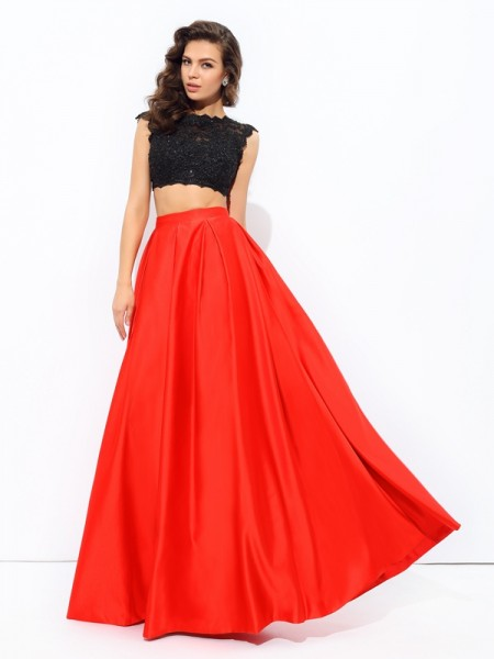 A-Line Scoop Lace Satin Two Piece Prom Dresses