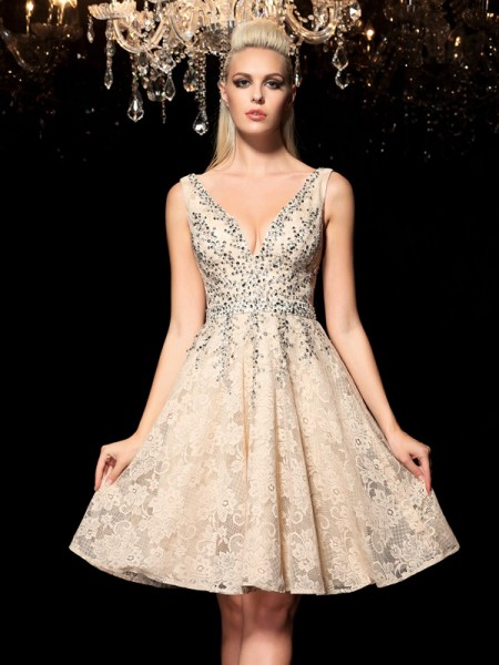 A-Line V-neck Beading Short Lace Homecoming Dresses