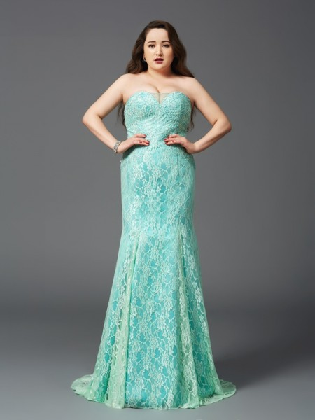 Sheath Strapless Lace Satin Plus Size Prom Dresses