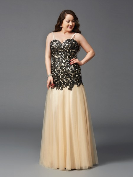 Sheath Spaghetti Straps Applique Net Plus Size Prom Dresses