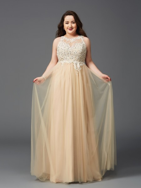 A-Line Scoop Rhinestone Net Plus Size Prom Dresses