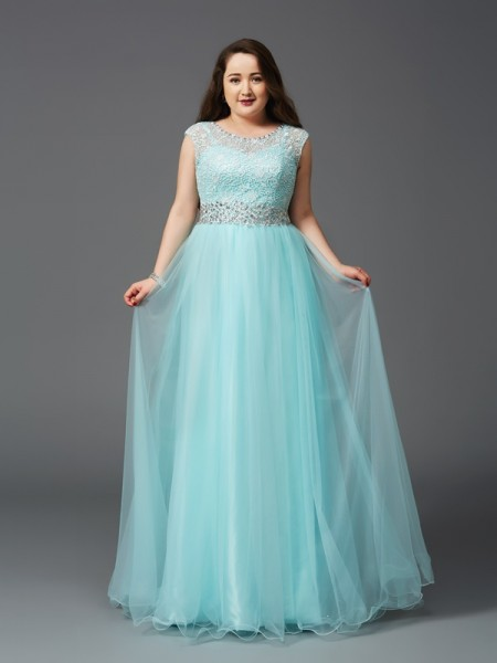 A-Line Scoop Rhinestone Elastic Woven Satin Plus Size Prom Dresses