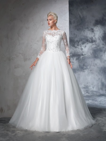 Bateau Lace Net Ball Gown Wedding Dresses