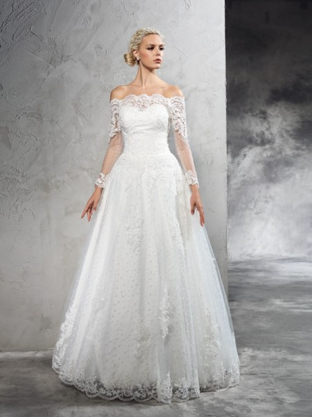 Off-the-Shoulder Lace Net Ball Gown Wedding Dresses
