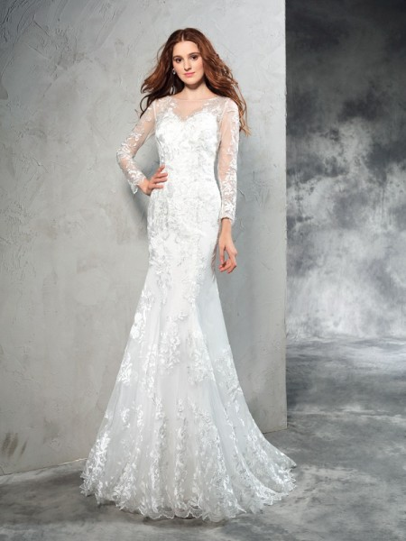 Sheath Sheer Neck Lace Net Wedding Dresses