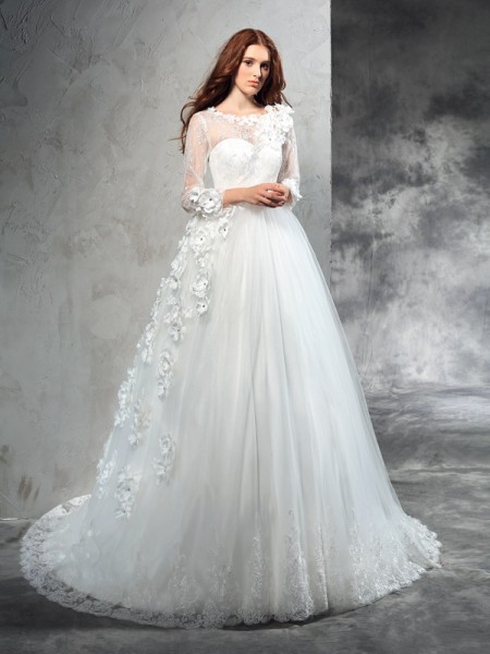 Sheer Neck Hand-Made Flower Net Ball Gown Wedding Dresses