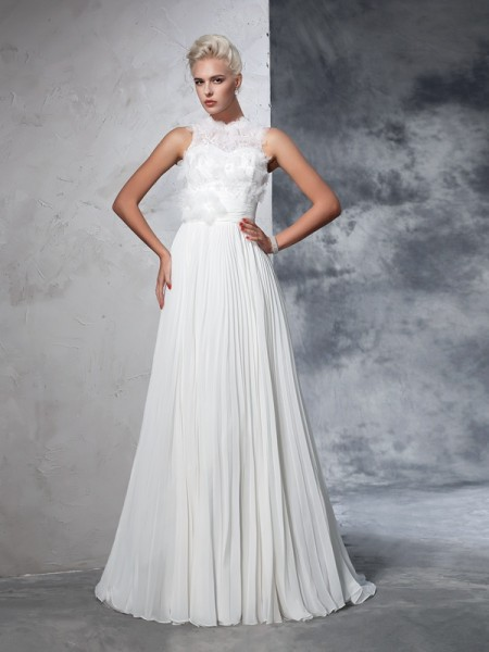 A-Line High Neck Pleats Chiffon Wedding Dresses