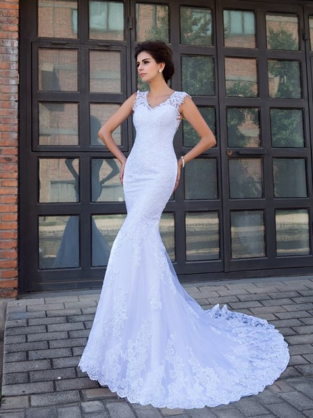 Mermaid V-neck Applique Satin Wedding Dresses